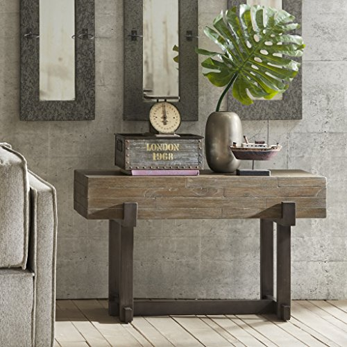 Mahogany Wood Console Table (Console Table See below/Reclaimed Brown/ Gun Metal)