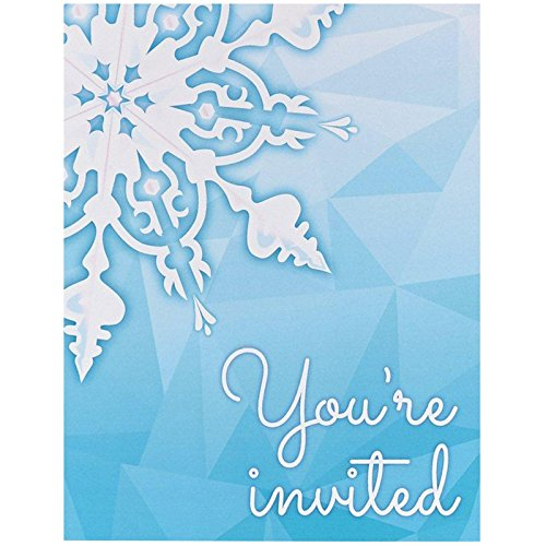 Snowflake Winter Wonderland Christmas Party Supplies - Invitations - Party Snow Invitations