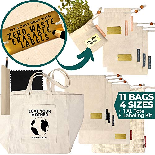 Reusable Produce Bags with ERASABLE LABELS-Organic Cotton Muslin and Mesh Produce Bags + Large Canvas Shopping Bag + Zero Waste Labeling Kit- 4 Sizes, 11Washable Eco Friendly Grocery Bags