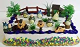 Totoro 16 Piece Birthday Cake Topper Set Featuring Chu Totoro, Chibi, Catbus and Themed Decorative Accessories - Cake Topper Includes All Items Shown