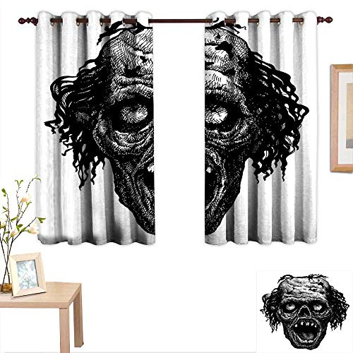 Luckyee Halloween Customized Curtains Zombie Head Evil Dead Man Portrait Fiction Creature Scary Monster Graphic 63
