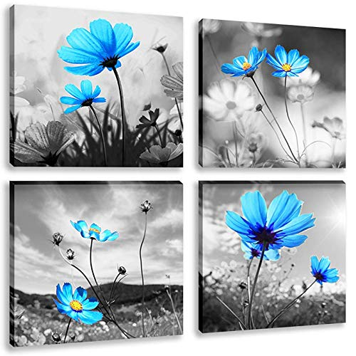 Still Life Floral Paintings - Black and White Flower Painting 4 Panle Abstract Blue Floral Still Life Canvas Picture Print Wall Art for Living Room Ready to Hang