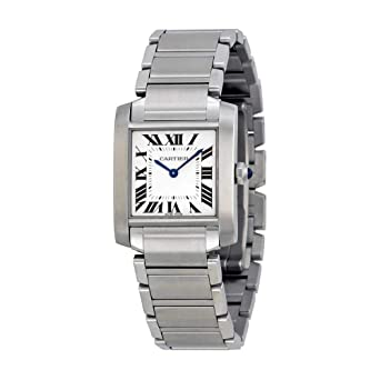 ca4ef719617 Image Unavailable. Image not available for. Color  Cartier Tank Francaise  Silver Dial Stainless Steel Ladies Watch WSTA0005