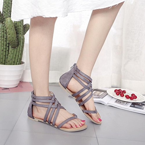 Gray Sandals Mens - Hemlock Women Summer Bohemia Sandals Shoes Bandage Flat Sandals (US:8, Grey)