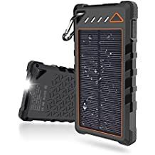 Solar Charger,10000mah Solar Portable Phone Charger Built-in 3 Modes Flashlight for Travel ,2A Max Output Battery Pack Solar Power Bank Dual USB External Solar Phone Charger for iPhone &Android