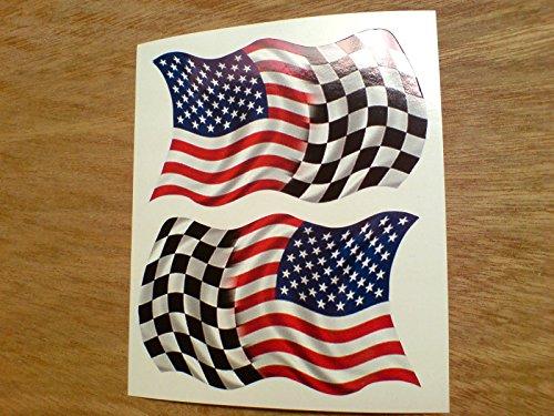 2 x USA Stars & Stripes & Chequered Flag Vinyl -