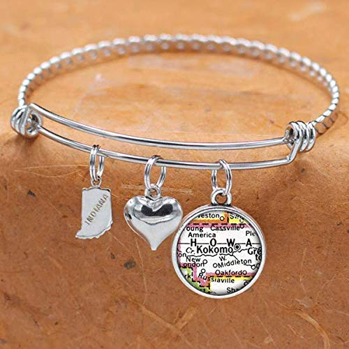 Indiana Map Bracelet Kokomo IN USA States Cities Towns Vintage Map Jewelry and Gifts]()