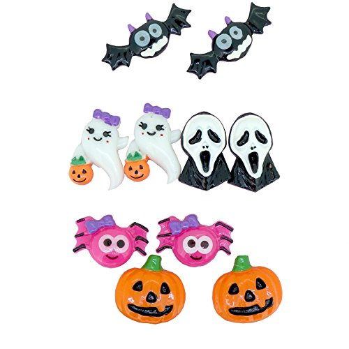 Bat Scream Ghost Mark Spider Pumpkin Clip On Earrings Halloween Party Jewelry (Spider Girl Costume Adults Uk)