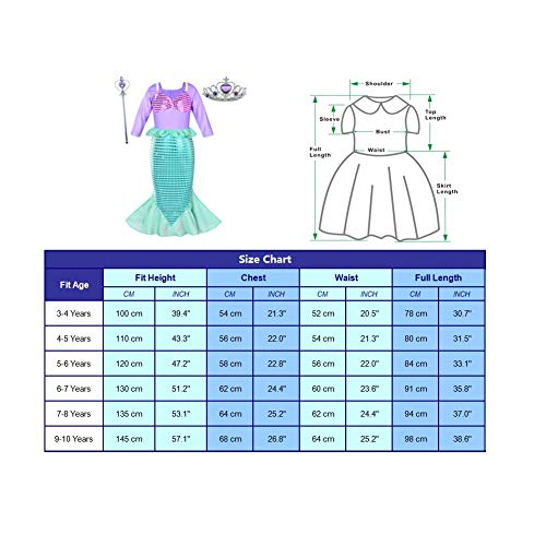 Girls Little Mermaid Costume Princess Dress Up For Birthday with Accessories(Crown+Wand) 4T 5T(110cm) by Party Chili (Image #7)
