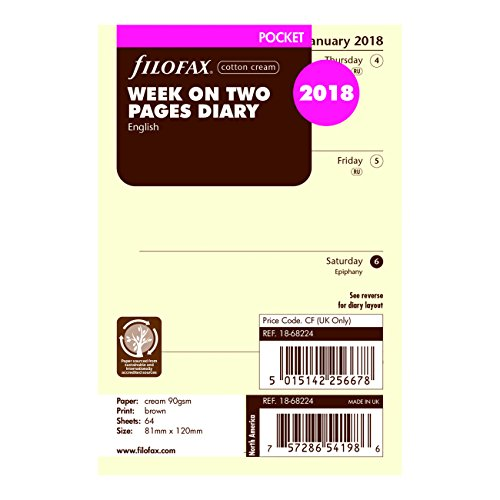 Filofax 2018 Pocket Week to View Refill, Cream Paper, Jan 2018- Dec 2018, 4.75 x 3.25 inches (C68224-18)
