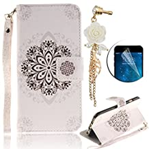 Apple iPod Touch 5 / 6, Sunroyal Premium White Lotus Flower Pattern Case 360 Degree Protective Cover [ Deductable Wrist Strap] Premium PU Leather Wallet Case with [Kickstand] [Card Slots] +Diamond Anti Dust Plug +Screen Protector