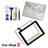 iPad 2 Screen Replacement, For iPad 2 Front Panel Digitizer Replacement Touch Screen Glass Lens Flex Includes Home Button + Camera Holder + Frame Bezel + Preinstalled Adhesive + Cleaning Kit (Black)