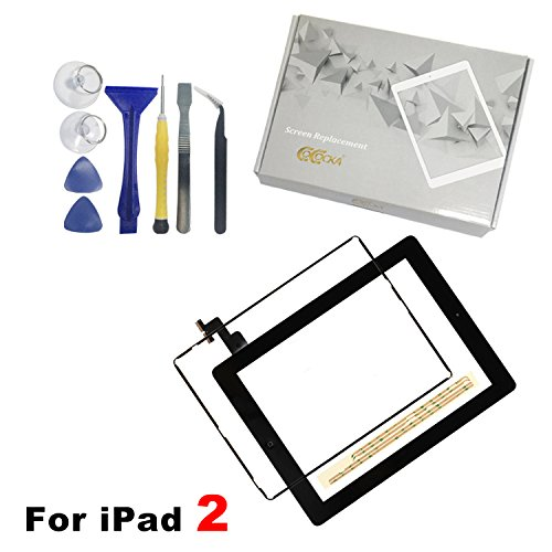 Frame Black Panel - iPad 2 Screen Replacement, For iPad 2 Front Panel Digitizer Replacement Touch Screen Glass Lens Flex Includes Home Button + Camera Holder + Frame Bezel + Preinstalled Adhesive + Cleaning Kit (Black)