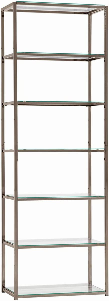 "Coaster Home Furnishings Book Case Coaster Contemporary Black Nickel Finished Metal Bookcase with Glass Shelves, 14"" D x 26"" W x 77.75"" H"