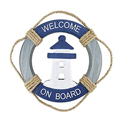 "Wooden Nautical Life Ring Wall and Door Hanging Ornament Plaque,Welcome On Board,11.6""x8"" Welcome Sign"