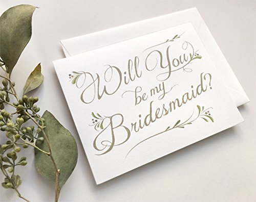 SALE! 5 Pack - Will You Be My Bridesmaid Cards (4), Maid of Honor Card (1) - Assortment Pack of 5 - Includes 5 White Euro-Flap Envelopes - Inside Blank