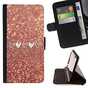 Momo Phone Case / Flip Funda de Cuero Case Cover - Coeur d'amour de scintillement d'or - Sony Xperia M5