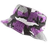 THE HAT DEPOT 300N Unisex 100% Cotton Packable Summer Travel Bucket Hat (S/M, Purple Camo)