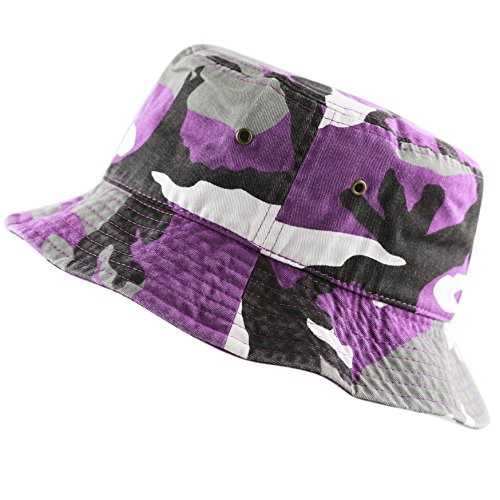 THE HAT DEPOT 300N Unisex 100% Cotton Packable Summer Travel Bucket Hat (S/M, Purple Camo) by THE HAT DEPOT