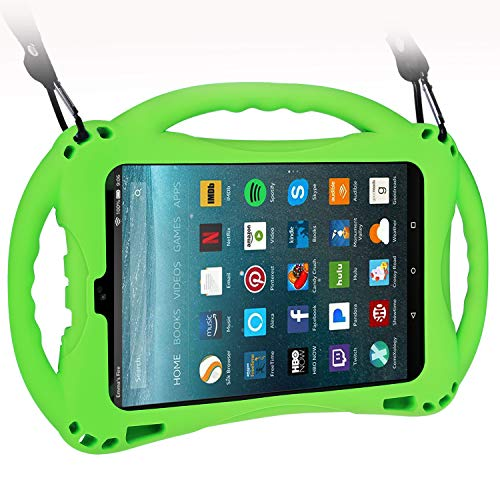 TopEsct Kid-Proof Case for All-New Amazon Fire HD 8,Compatible with 7th and 8th Generation Kindle Fire 8 inch, 2017 and 2018 Releases,Handle Stand Cover Case for Kids (Green) (Kindle Fire Hd Kid Proof Case)
