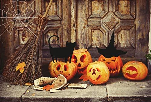CSFOTO 8x6ft Background Grimace Pumpkin Lamp Witch Broom Halloween Party Decor Photography Backdrop Grunge Room Black Cat Horror Tradition Festival Celebration Photo Studio Props Vinyl Wallpaper for $<!--$25.20-->