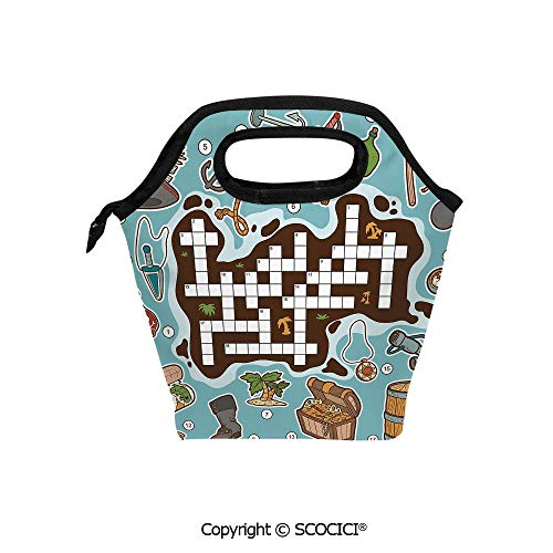 Reusable Insulated Lunch Bags with Pocket Kids Cartoon Game Grid Numbers Finding The Right Words Pirate Icons Decorative for Adults Kids Boys Girls.