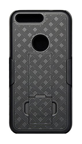 KuKu Mobile Rubberized Shell Holster for Google Pixel XL with Kickstand - Black