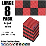 Arrowzoom New 8 Pack of 25 X 25 X 3 cm Soundproofing Egg Crate Acoustic Foam Studio Absorbing Tiles Pads Wall Panels AZ1052 (BLACK & RED)