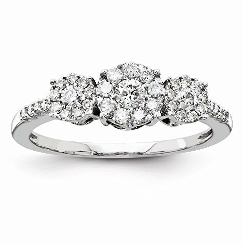 14k White Gold Semi-Mounting Diamond Three Stone Ring, No Center Stone Included -