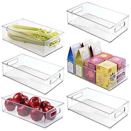 mDesign Large Stackable Kitchen Storage Organizer Bin with Pull Front Handle for Refrigerators, Freezers, Cabinets, Pantries - BPA Free, Food Safe - Deep Rectangle Tray Basket, Pack of 6, Clear