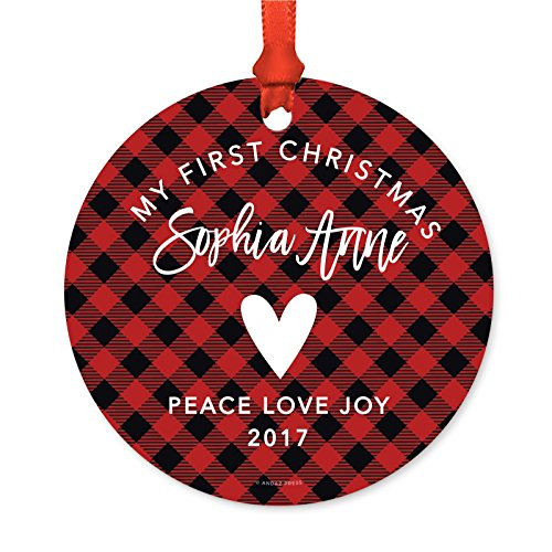 Andaz Press Personalized Baby Metal Christmas Ornament, My First Christmas, Sophia Anne 2018, Country Lumberjack Buffalo Red Plaid, 1-Pack, Includes Ribbon and Gift Bag, Custom Name