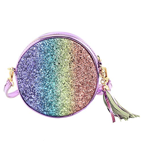 CMK Trendy Kids Toddler Purse for Little Girls Princess Crossbody Bag with Tassel (Glitter Rainbow)