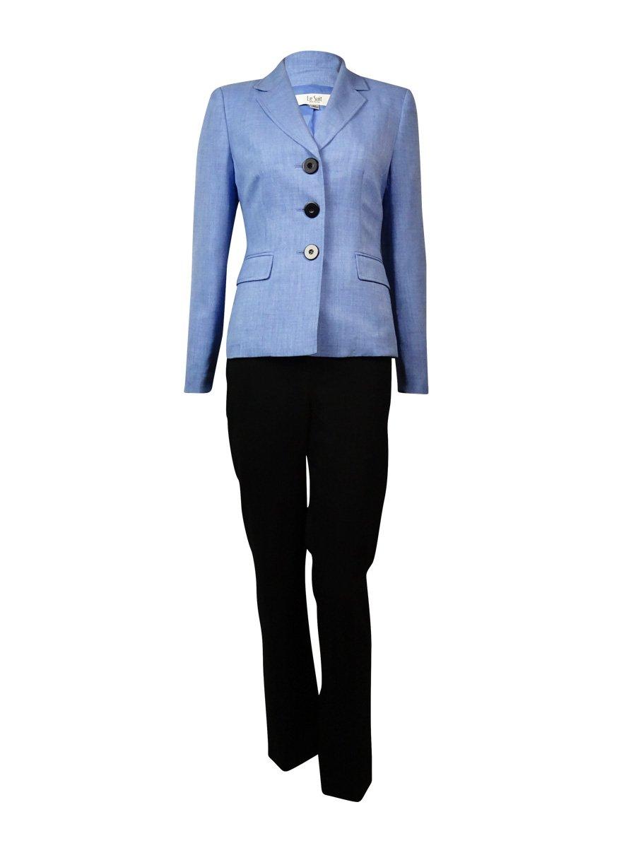 Le Suit Women's Notched Lapel Three Button Woven Pant Suit (4, Viola/Black)