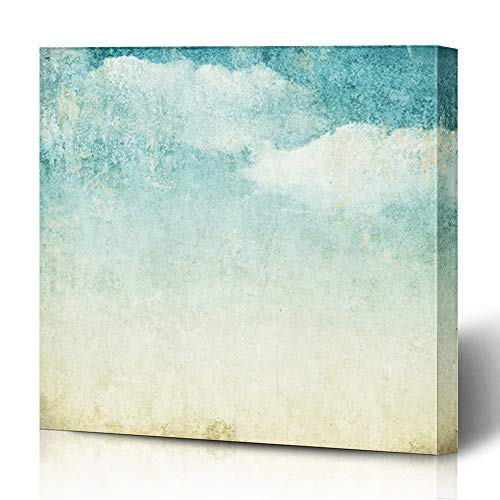 (Ahawoso Canvas Prints Wall Art 12x12 Inches Old Watercolor Retro Vintage Blue Shade Clouds Pattern Abstract Pastel Parchment Wooden Frame Printing Home Living Room Office Bedroom)