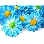 100-Silk-Blue-Gerbera-Daisy-Flower-Heads-Gerber-Daisies-175-Artificial-Flowers-Heads-Fabric-Floral-Supplies-Wholesale-Lot-for-Wedding-Flowers-Accessories-Make-Bridal-Hair-Clips-Headbands-Dress