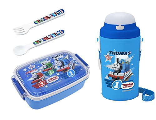 - 4 Thomas the Tank Engine Products - Lunch Box, Thermos with Straw, Spoon and Fork