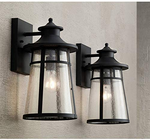 Clement Outdoor Wall Light Fixtures Set of 2 Cast Iron Black 15″ Clear Seedy Gla