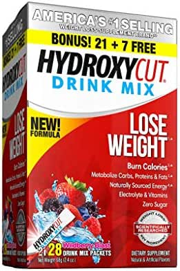Hydroxycut Drink Mix Weight Loss Supplements, Burn Calories & Get Naturally Sourced Energy, No Sugar, Wildberry Blast, 21 Servings (51g)