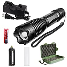 LED Tactical Flashlight,Bigear Portable Outdoor Water Resistant Torch with Adjustable Focus and 5 Light Modes-Rechargeable 18650 Batteries and Charger Included For Hiking, Camping, Emergency