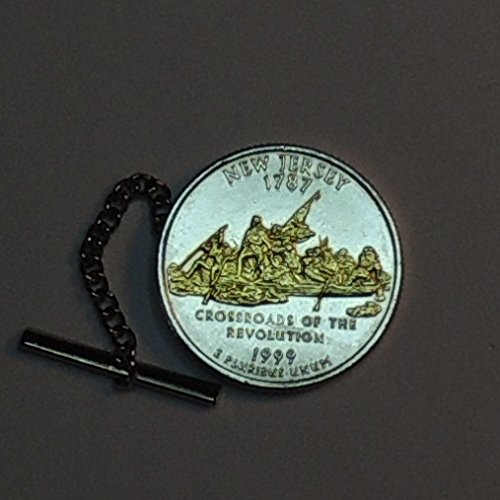 New Jersey Statehood Quarter - Gorgeous 2-Toned (Uniquely hand done) Gold on Silver Coin - Tie or Hat tack pins, tacky, for men him, Boys, women, skinny