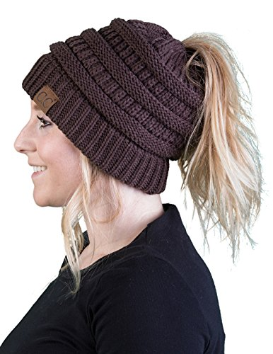 BT-6020a-07 Messy Bun Womens Winter Knit Hat Beanie Tail - Brown
