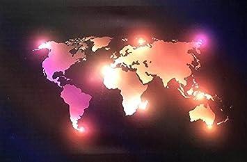 Carte Du Monde Lumineuse.Tableau Murale Lumineux Inspirant En Toile Eclairage Led Pour La Maison Salon Bureau Carte Du Monde