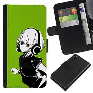 Sony Xperia Z3 D6603 / D6633 / D6643 / D6653 / D6616 , la tarjeta de Crédito Slots PU Funda de cuero Monedero caso cubierta de piel ( Anime Girl White Hair Headphones Music Green)