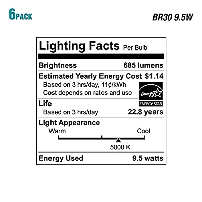 (24-Pack) Ecosmart Daylight LED BR30 Dimmable Flood Bulb, 65W Replacement, 9.5 Watt, 685 Lumens - 5000K - Indoor/Outdoor Rated