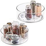 mDesign Plastic Lazy Susan Spinning Food Storage Turntable for Cabinet, Pantry, Refrigerator, Countertop - Spinning Organizer for Spices, Condiments, Baking Supplies - 9' Round, 2 Pack - Clear