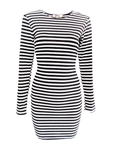(FACE N FACE Women's Knitting Sexy Casual Long Sleeve Short Dress Black and White Stripes X-Small)