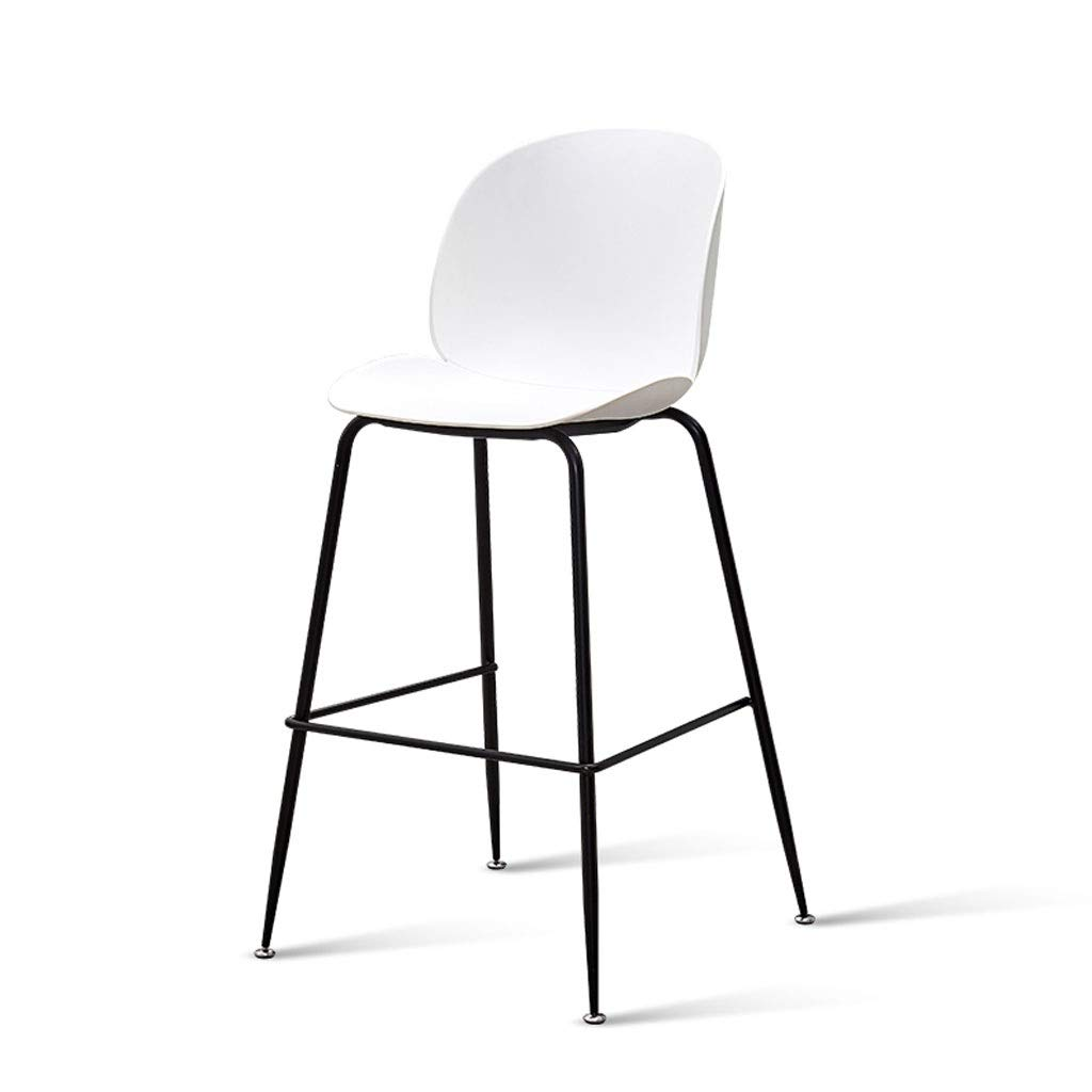 White 72cm Xue Iron Bar Chair Cafe High Stool Green PP Seat Living Room Counter Chair Bar Restaurant Leisure Non-Slip Reinforcement Table and Chair A+ (color   White, Size   72cm)