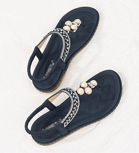 Boho Beaded Sandals Blue Casual Flat Comfortable Shoes Summer Aqua Strass x0q8Iw1