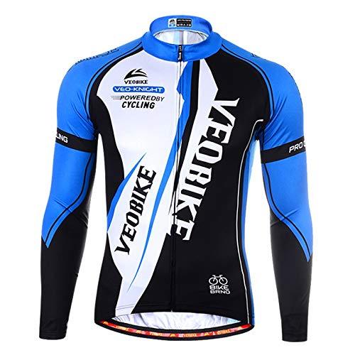 Beydodo Cycling Jersey Women Long Sleeve Cycling Jersey Men Long Sleeve White Blue Outdoor and Running, Racing Sport Long Sleeves Size XXL