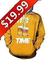 GLUDEAR Unisex Realistic 3D Digital Print Pullover Hoodie Hooded Sweatshirt,Beer,L/XL
